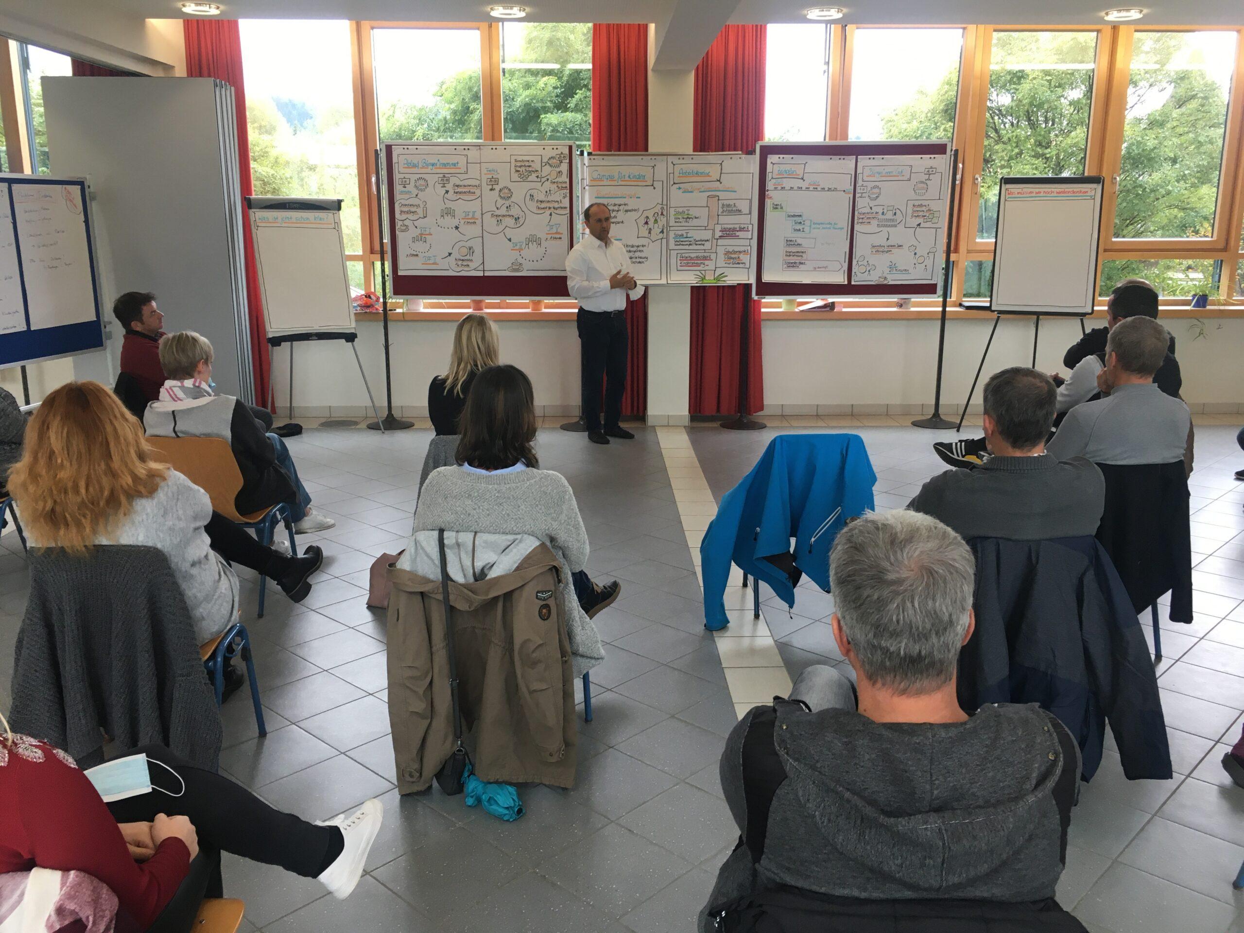 Bürgermeister Hans-Jörg Birner formiert die Arbeitskreise mit Gemeinde- und Bürgerrat und stellt den Zeitplan vor